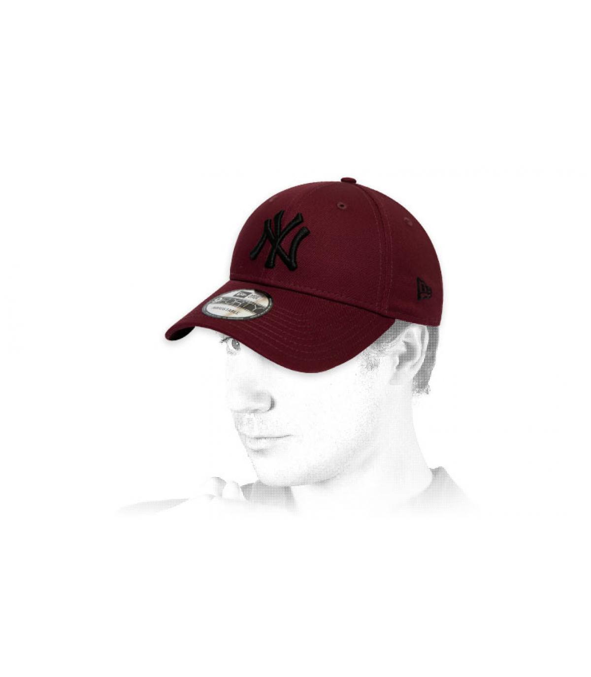 black burgundy NY cap
