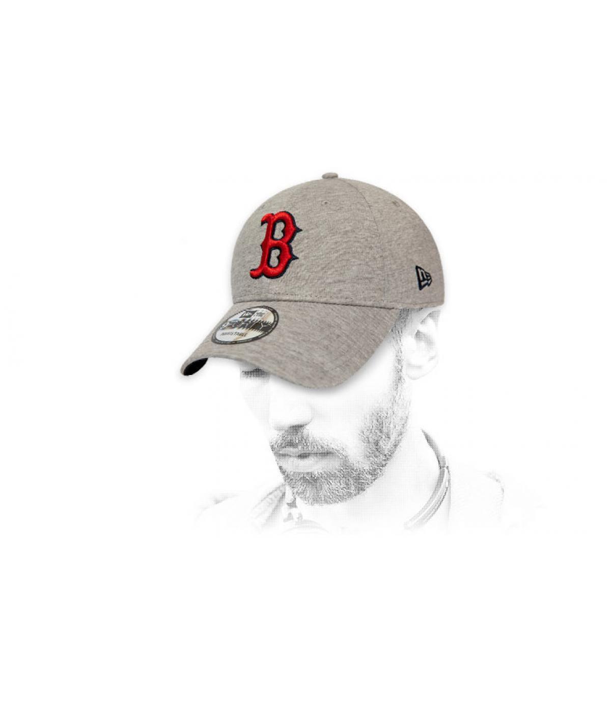 grey red B cap