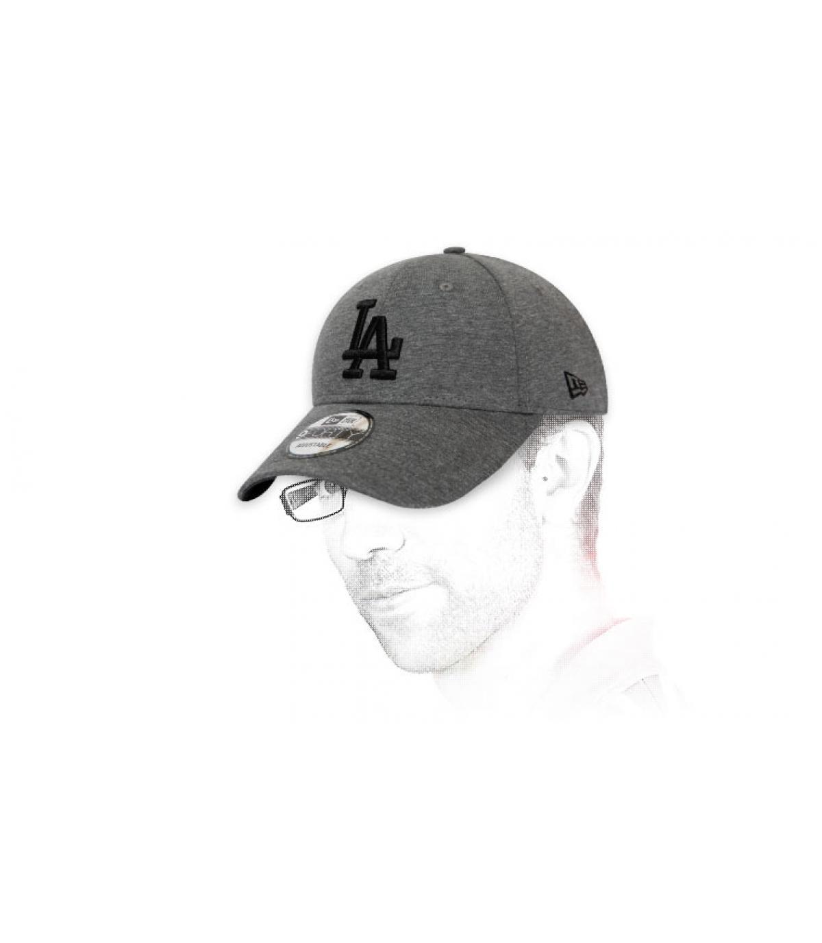 grey and black LA cap