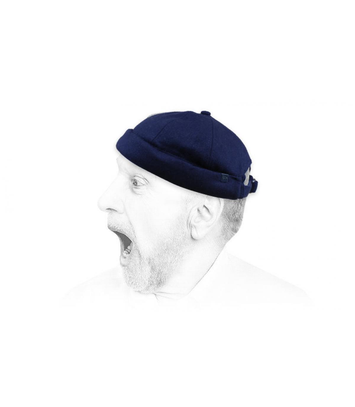 blue wool docker beanie New Era