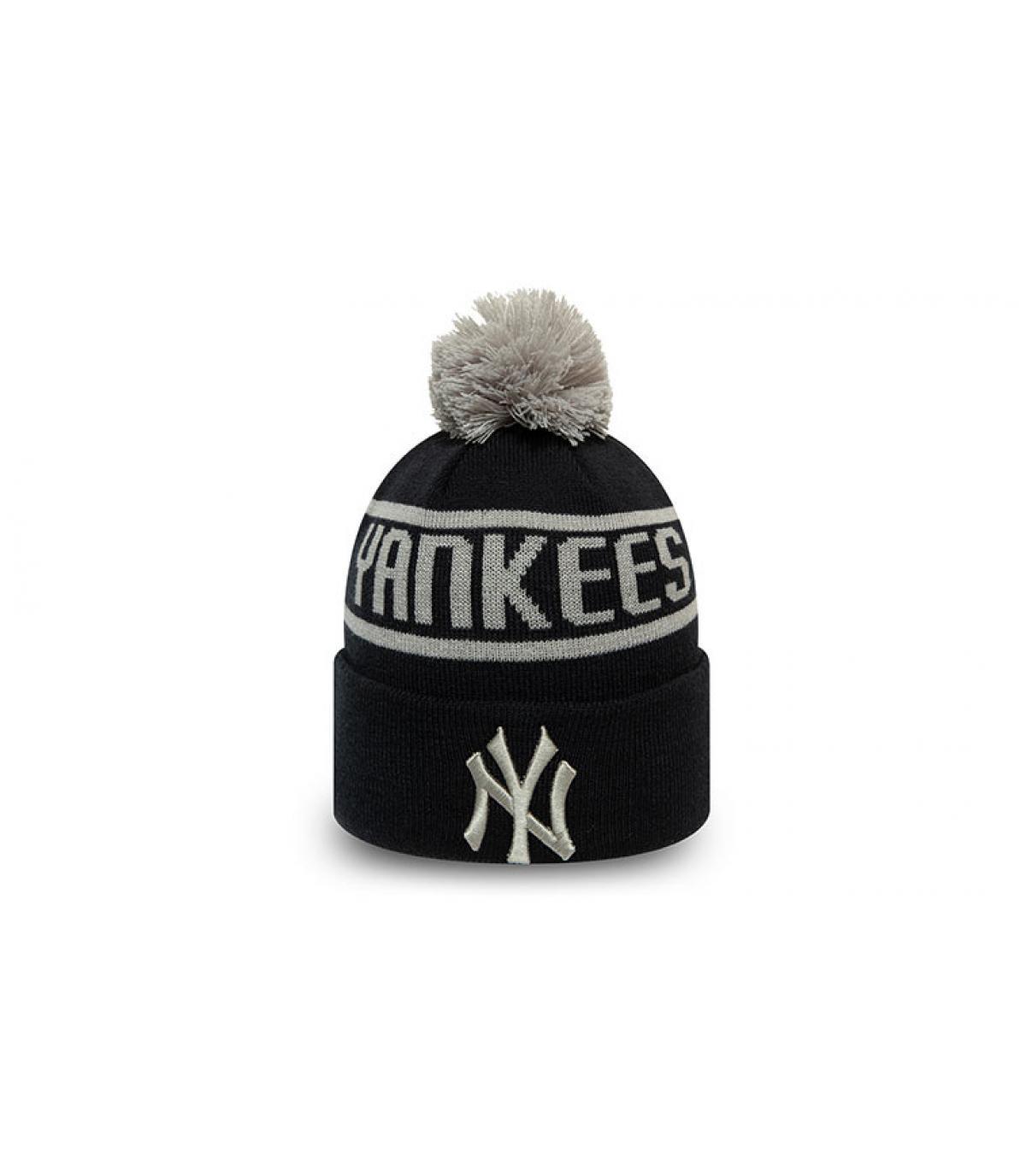 blue Yankees bobble beanie