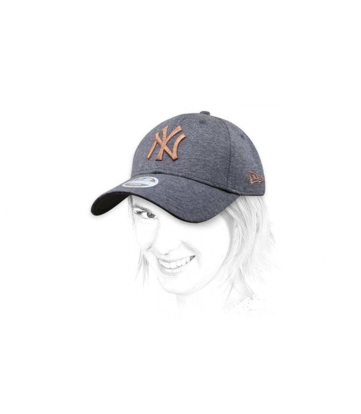 grey gold NY women cap