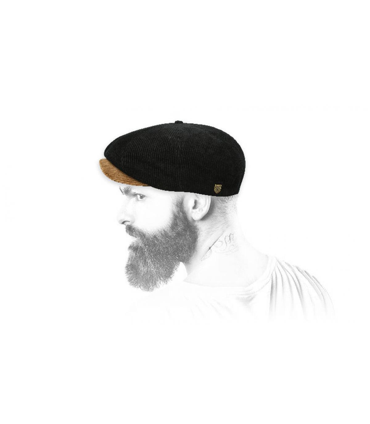 newsboy cap black corduroy