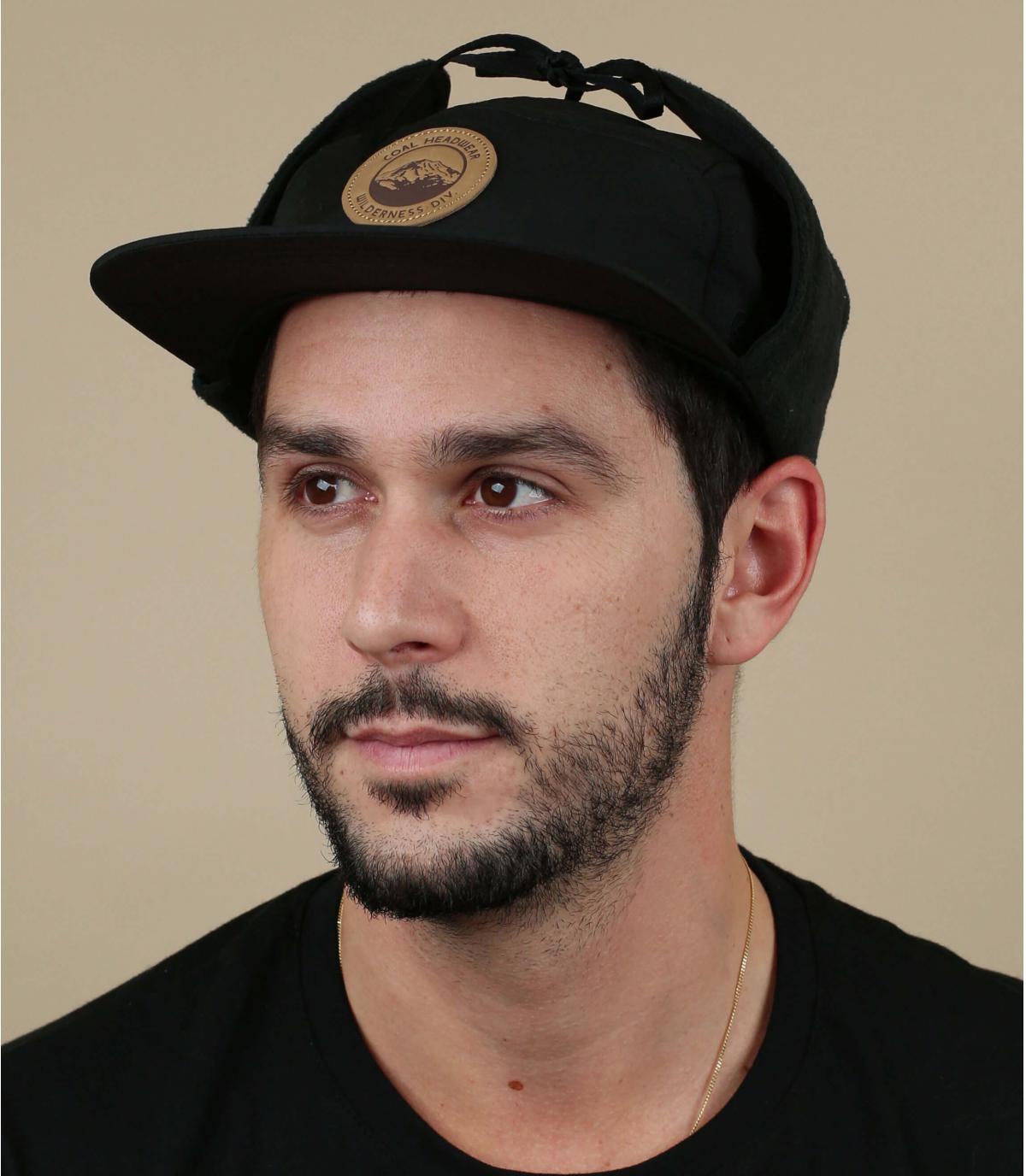 black 5 panel ear flap cap