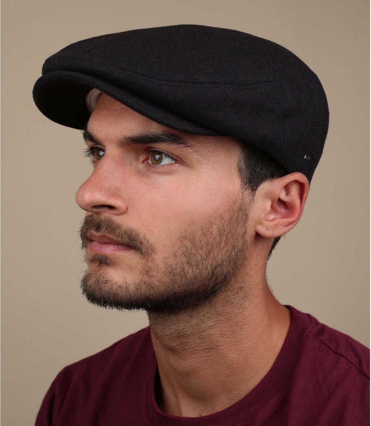 burgundy flat cap wool