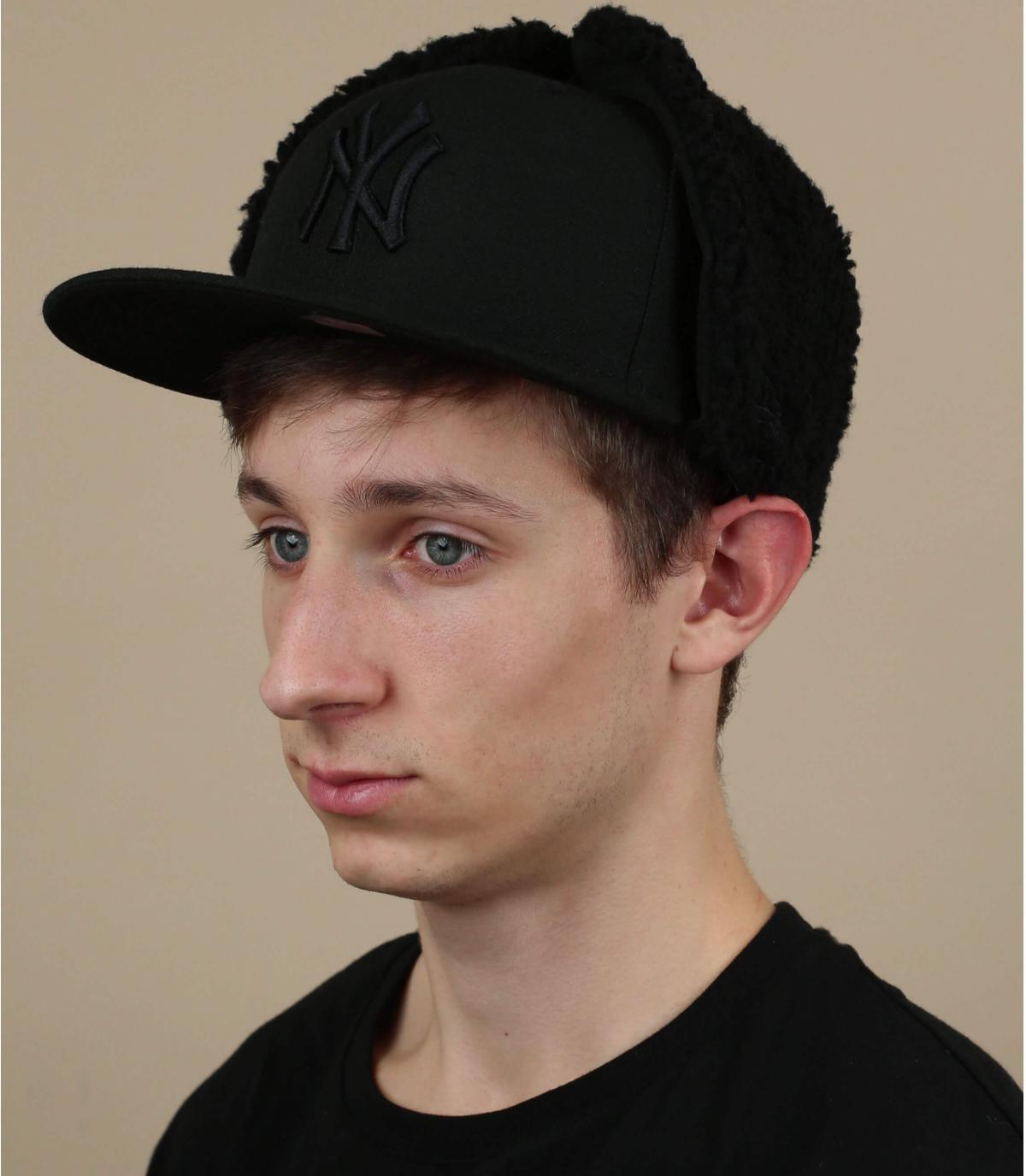 NY cap ears black