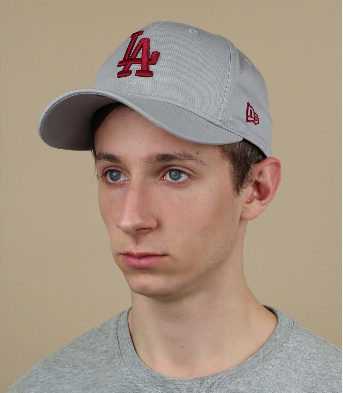 grey red LA cap