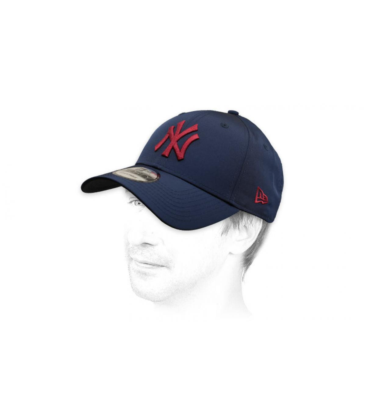 blue burgundy NY cap