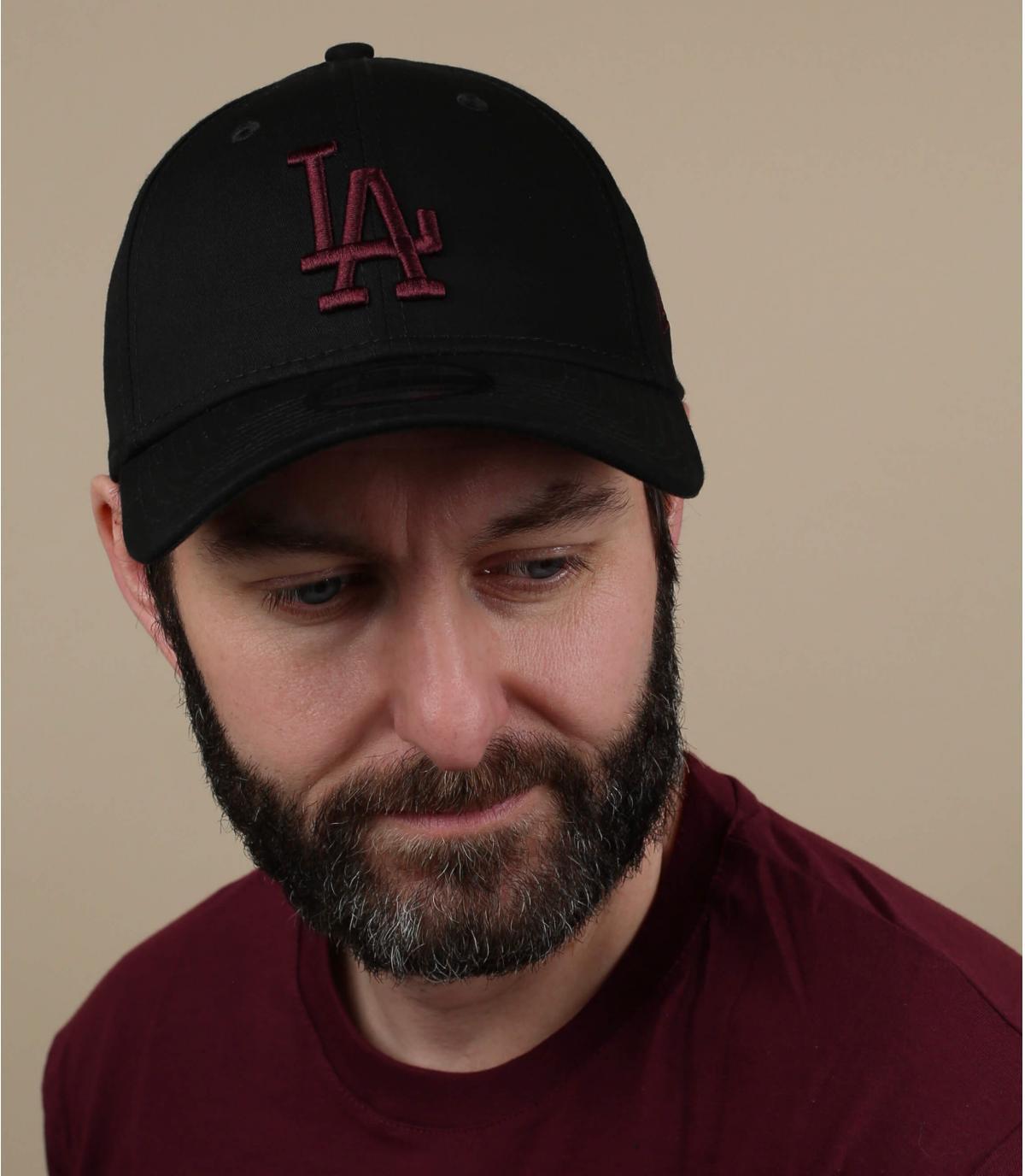 black burgundy LA cap