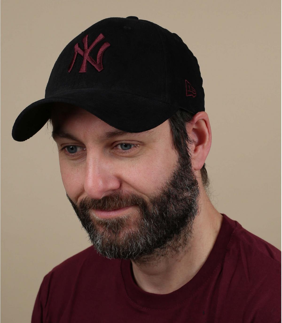 black burgundy NY corduroy cap