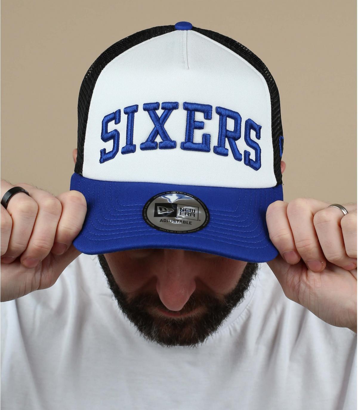 white blue Sixers trucker cap