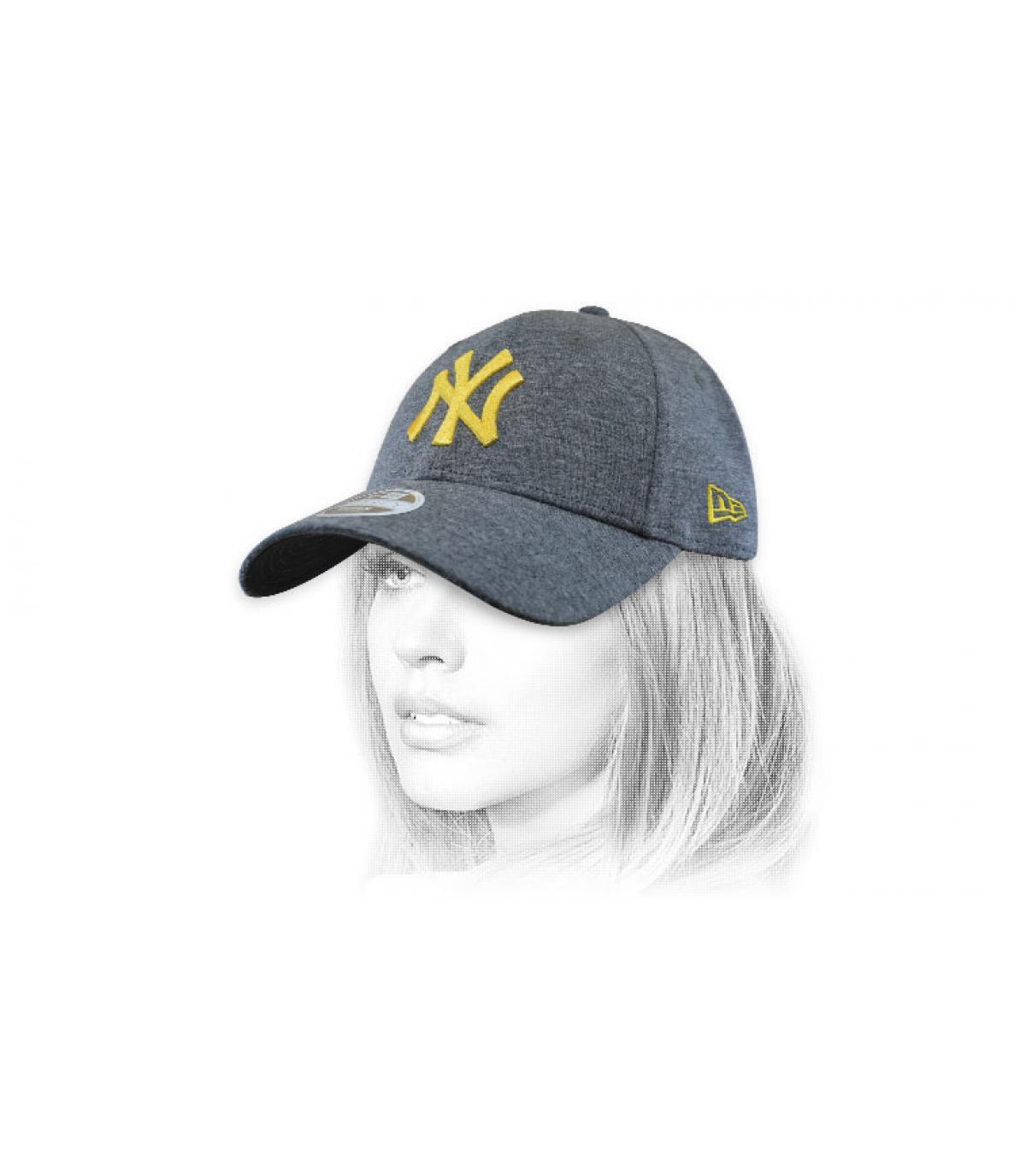 women NY grey gold cap