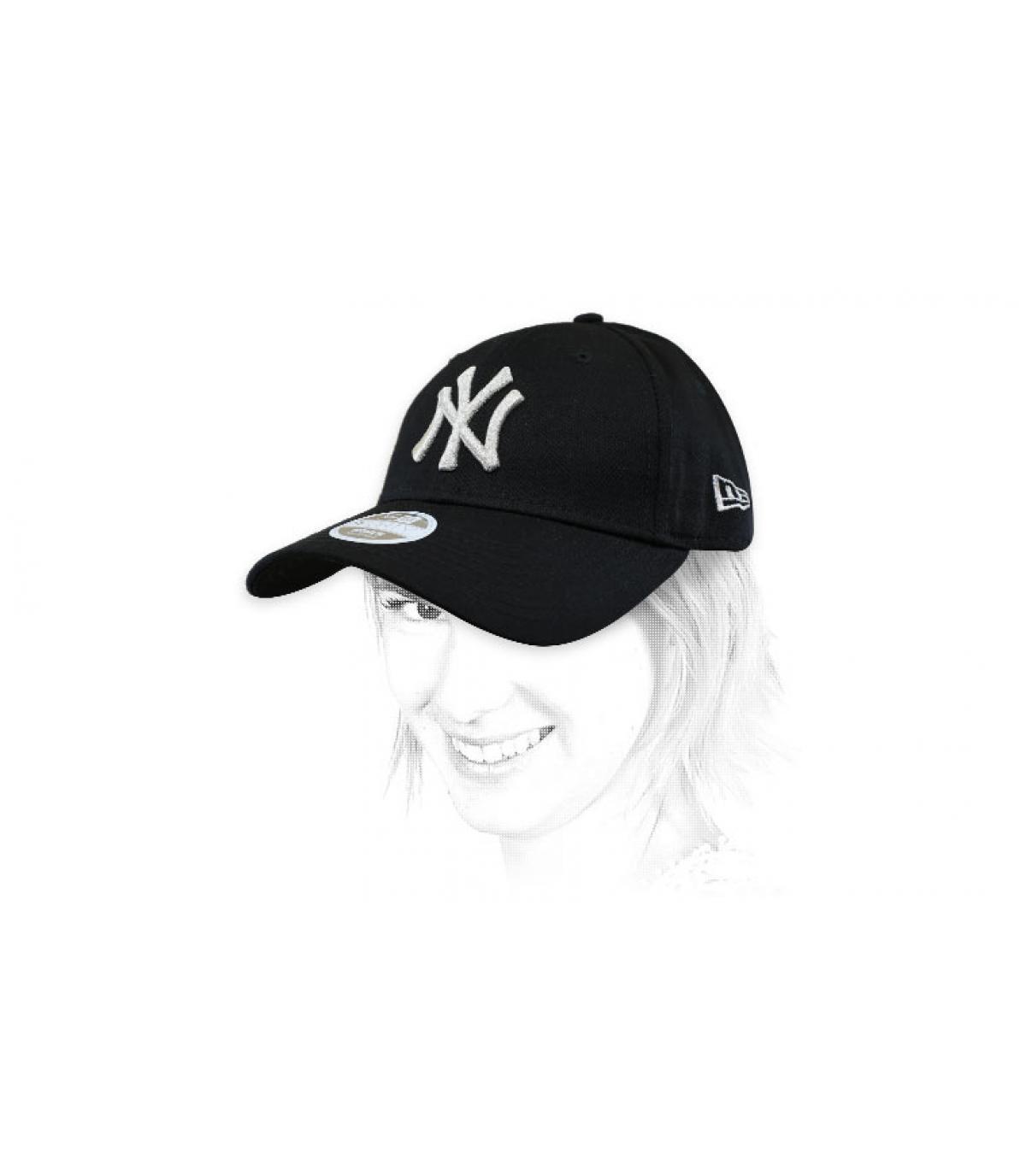 NY black silver women cap