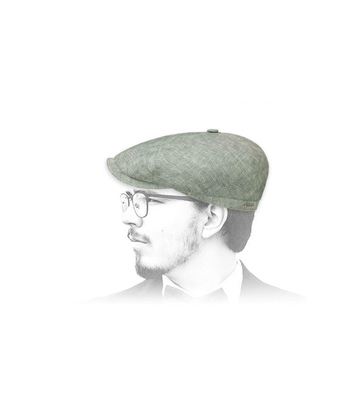 green linen newsboy cap