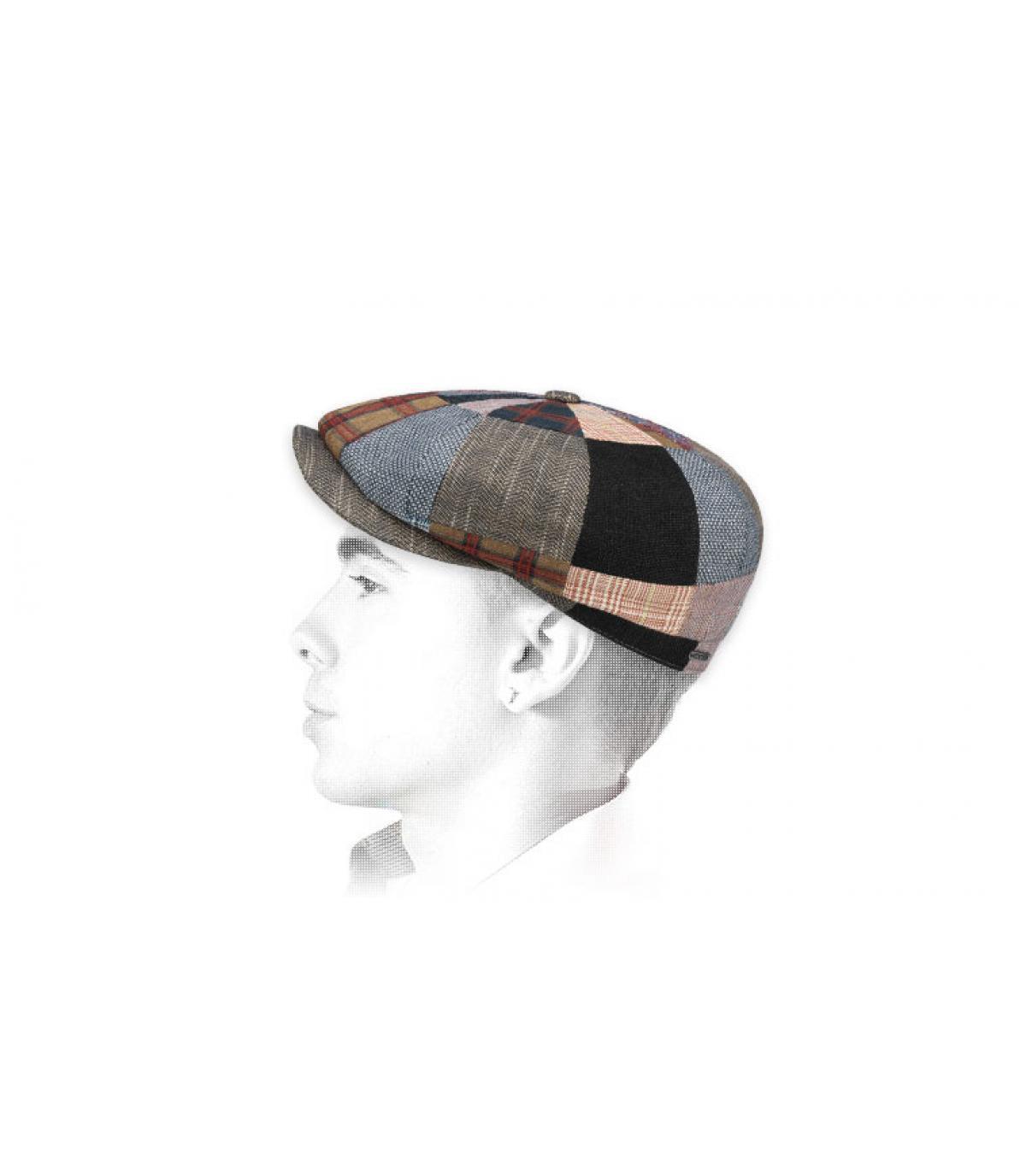 linen patchwork newsboy cap