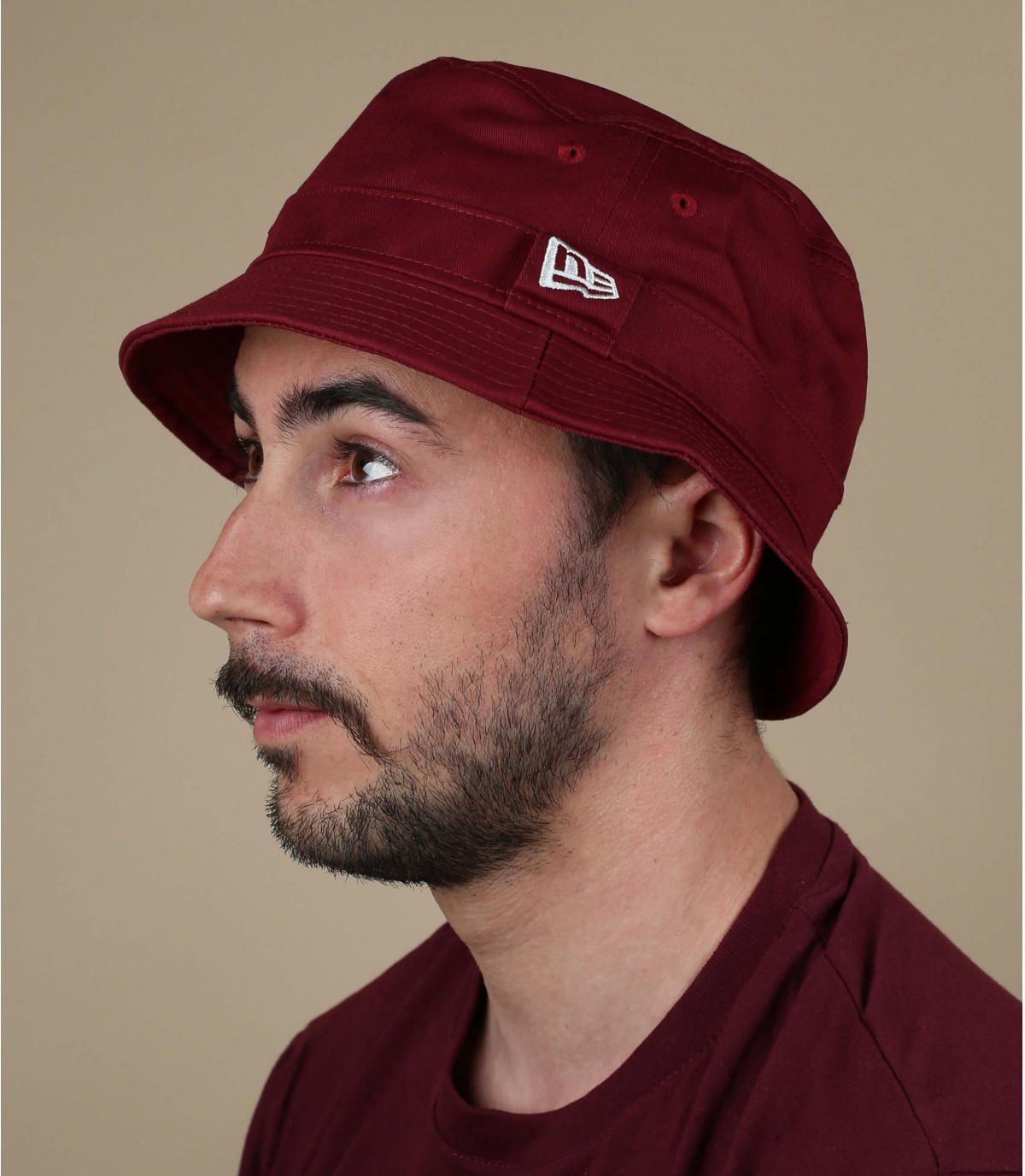 burgundy New Era bucket hat