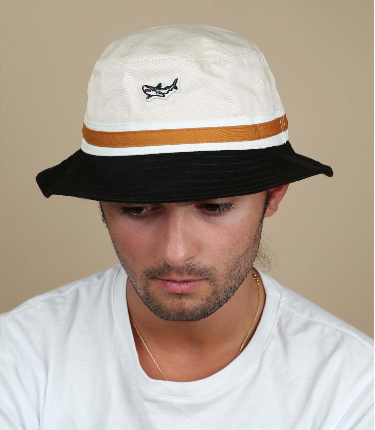 white Dark Seas bucket hat