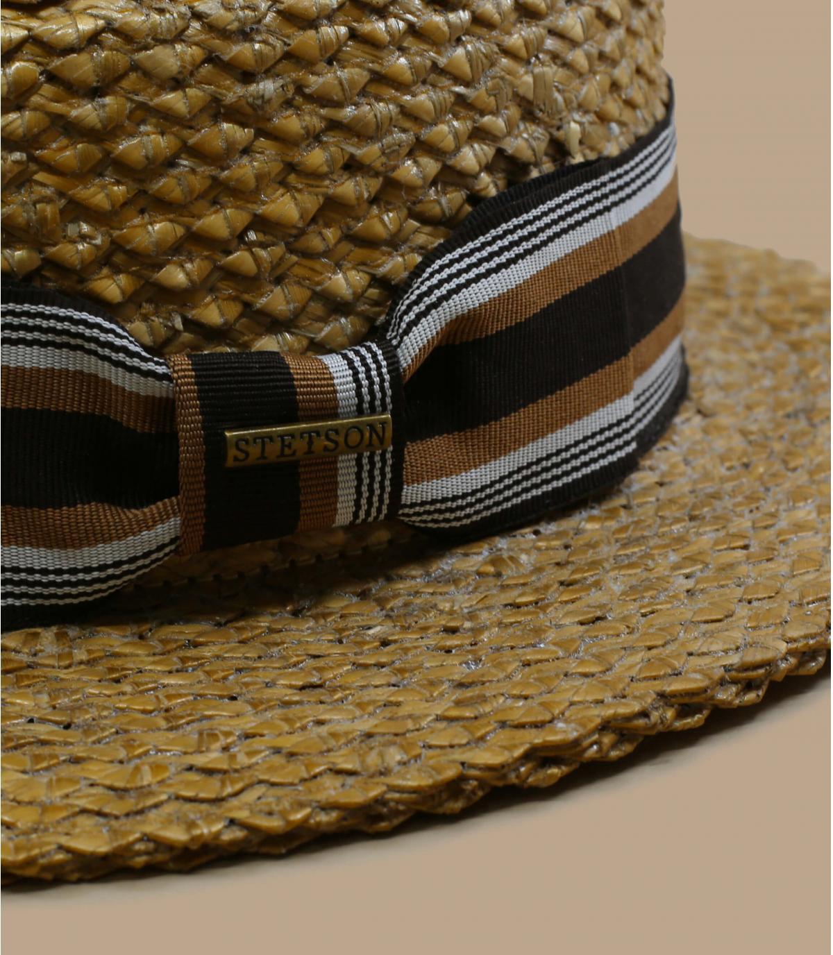 Boater hat striped ribbon