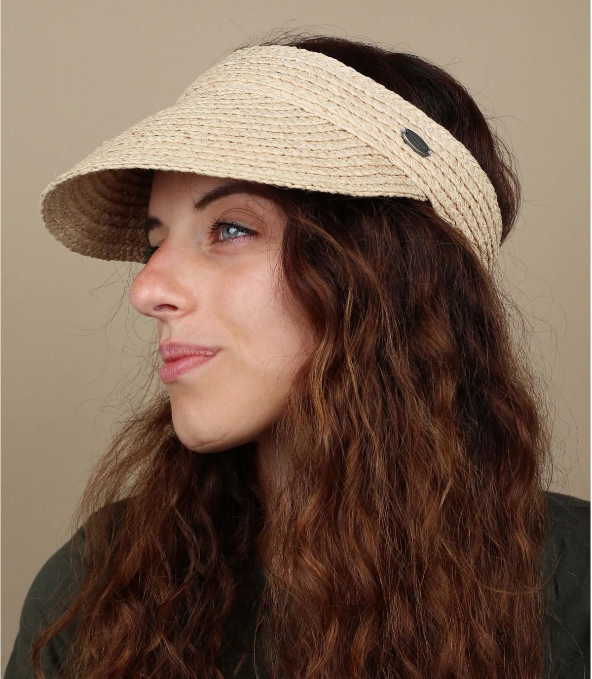 beige straw visor