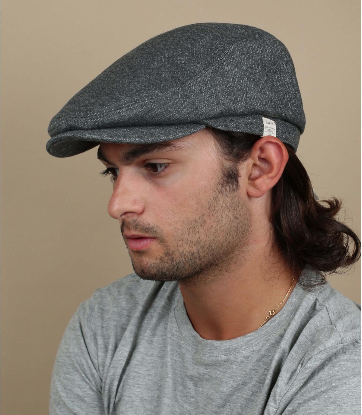 grey flat cap linen cotton