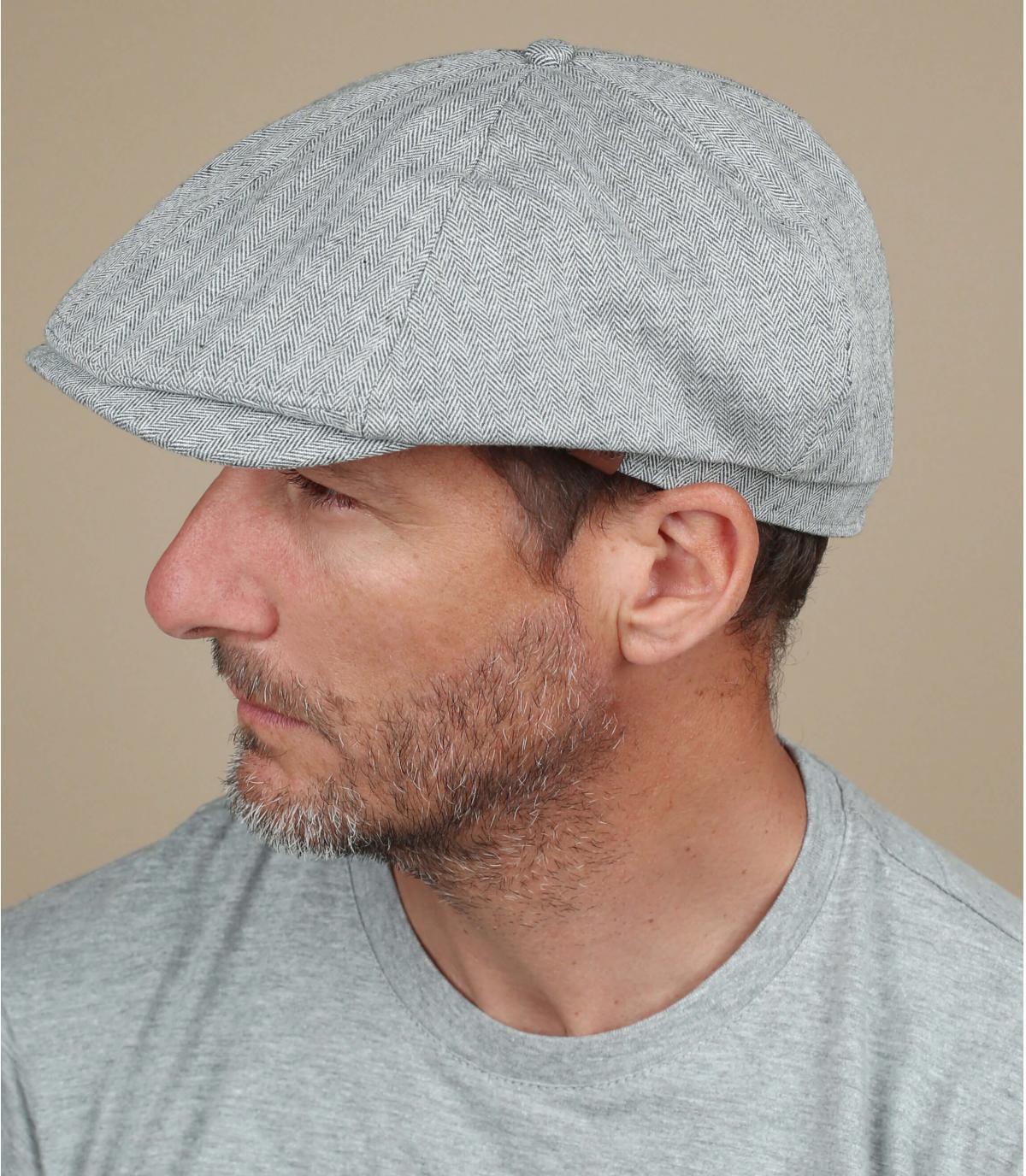 grey linen newsboy cap