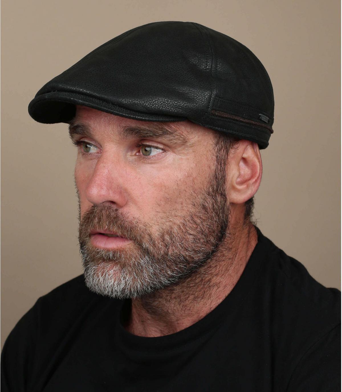 Stetson black flat cap