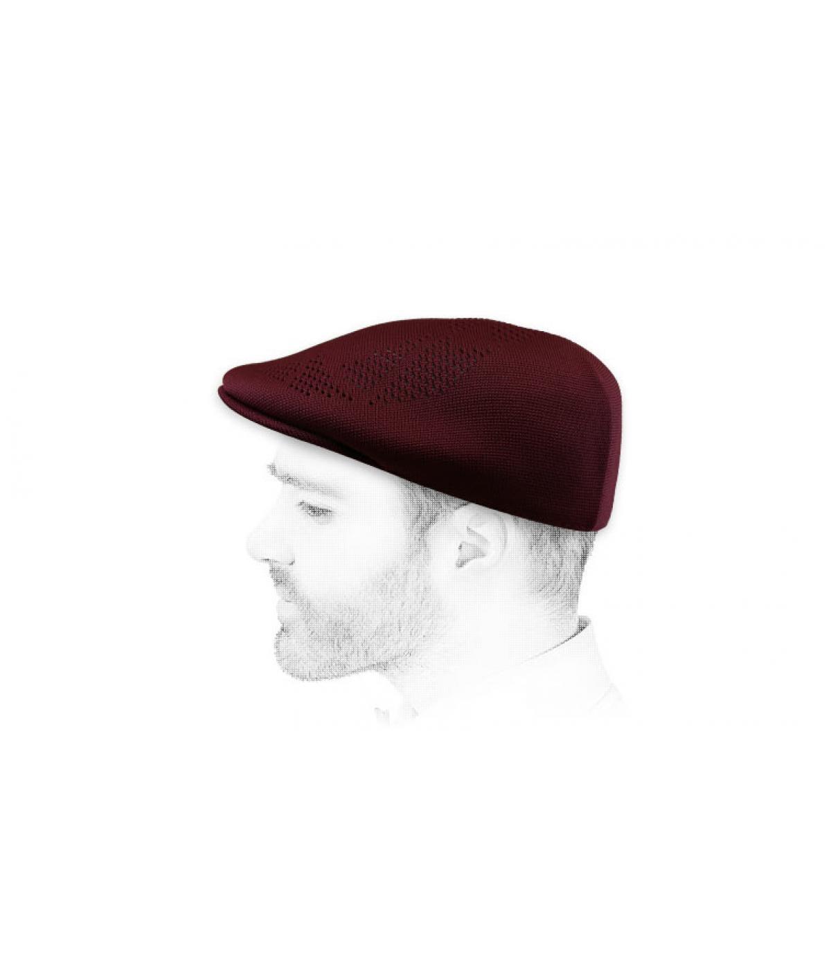 Burgundy flat cap Kangol