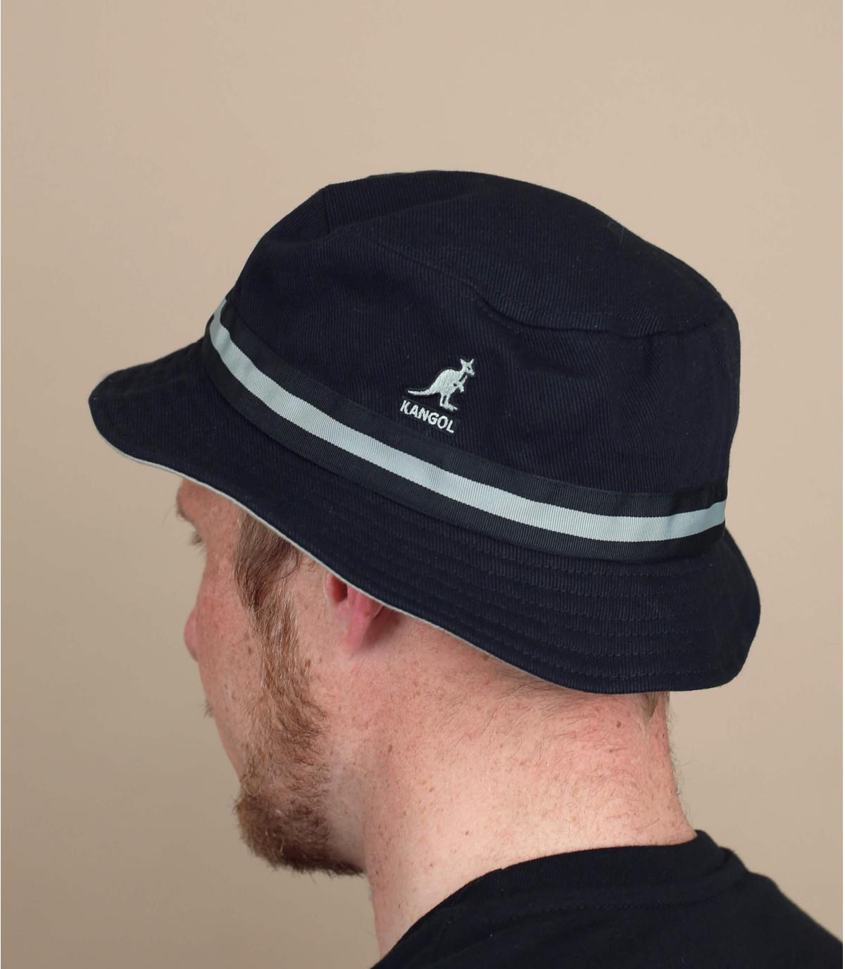 Black Kangol bucket hat stripe