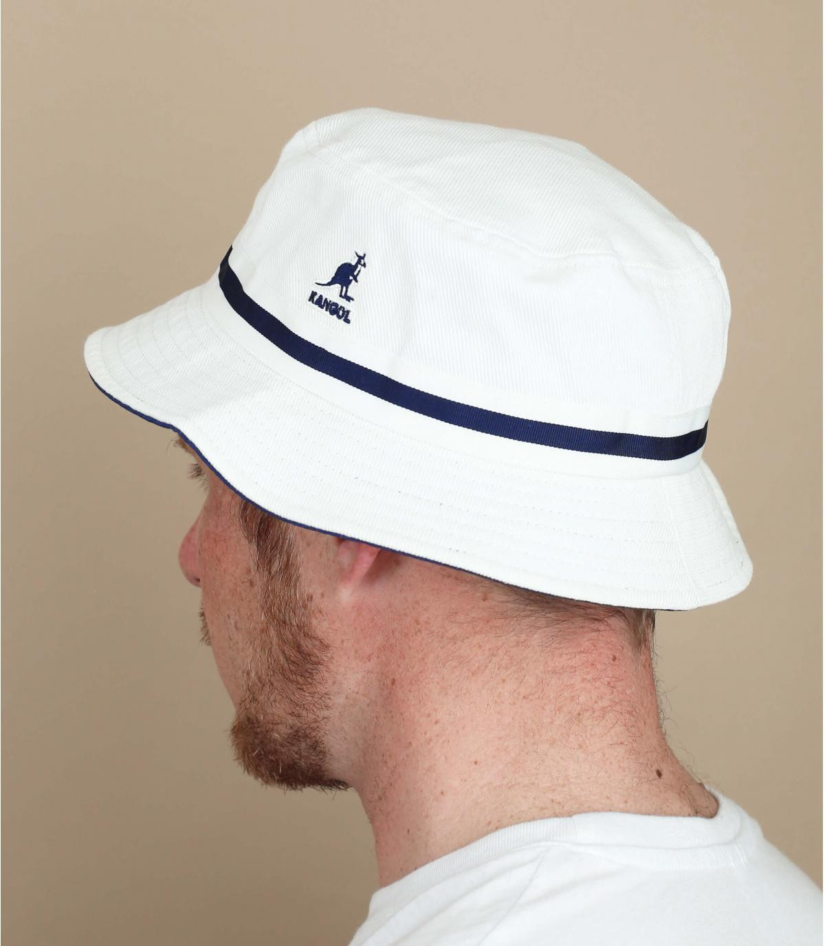 white Kangol bucket hat stripe