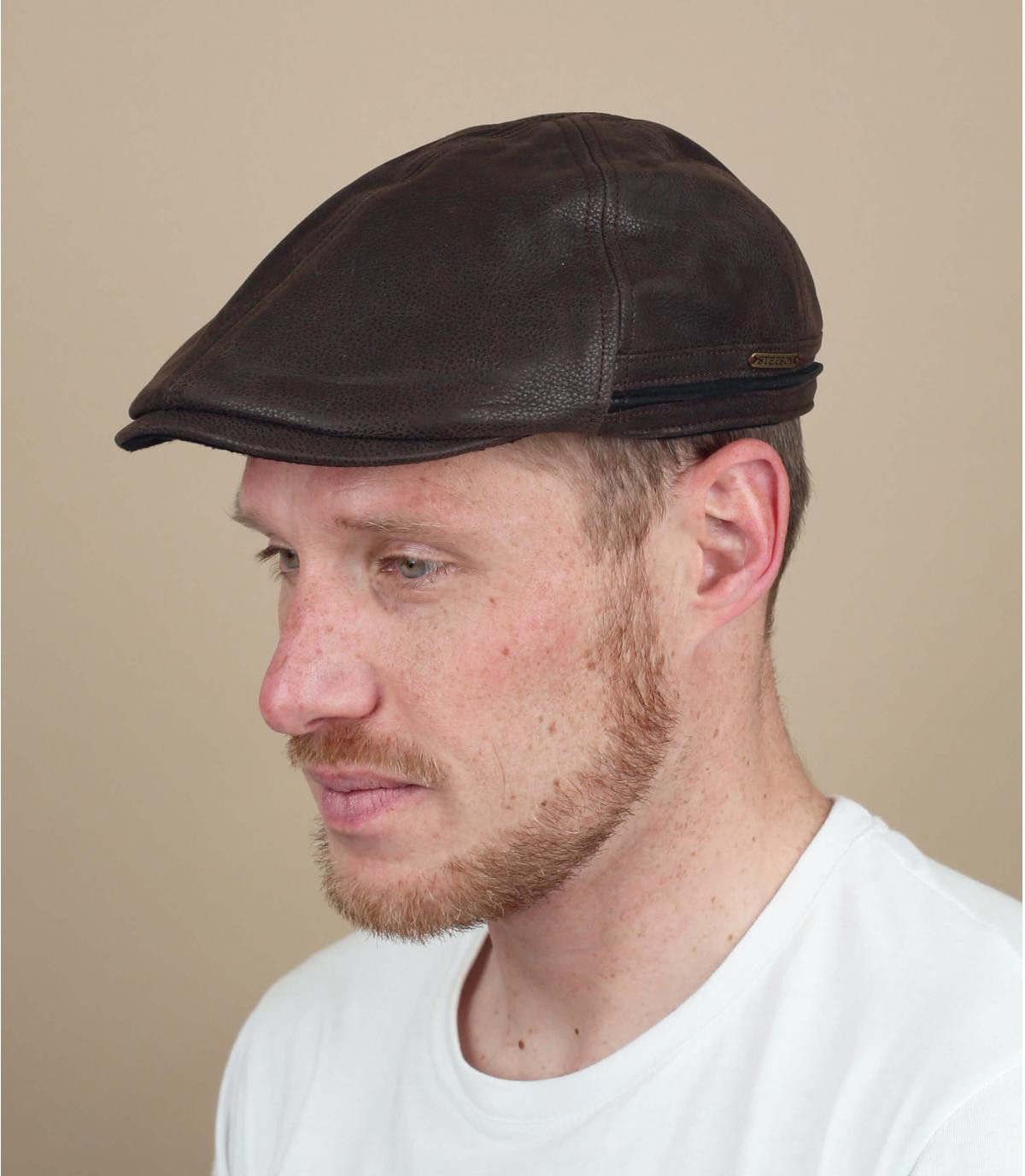 Stetson brown flat cap