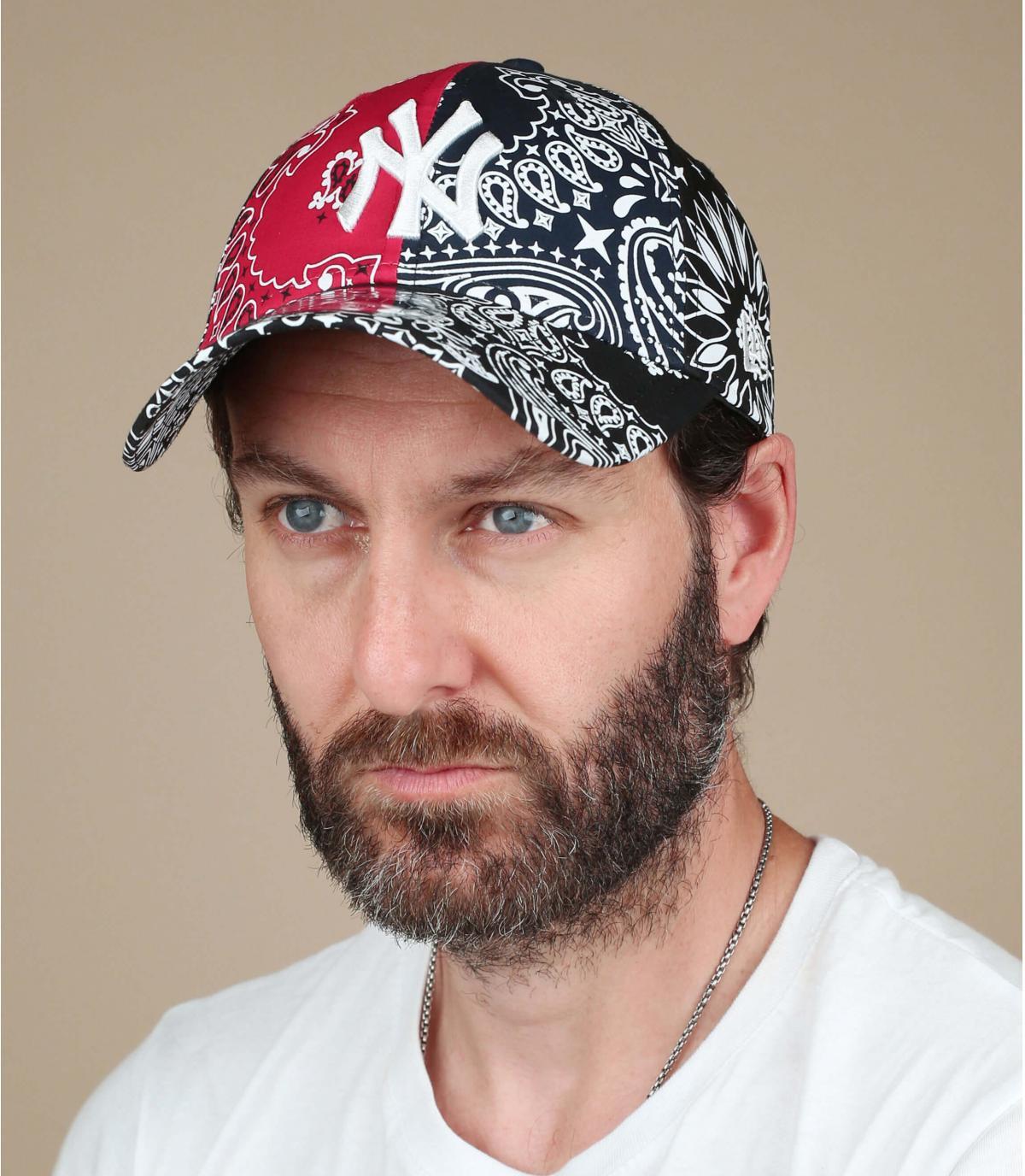 black red NY bandana cap