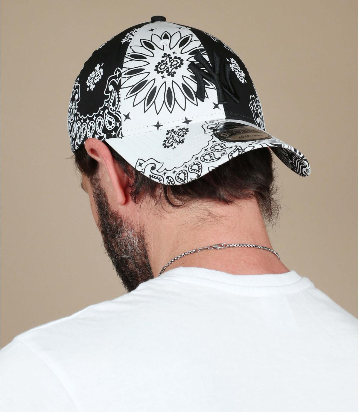 black white NY bandana cap