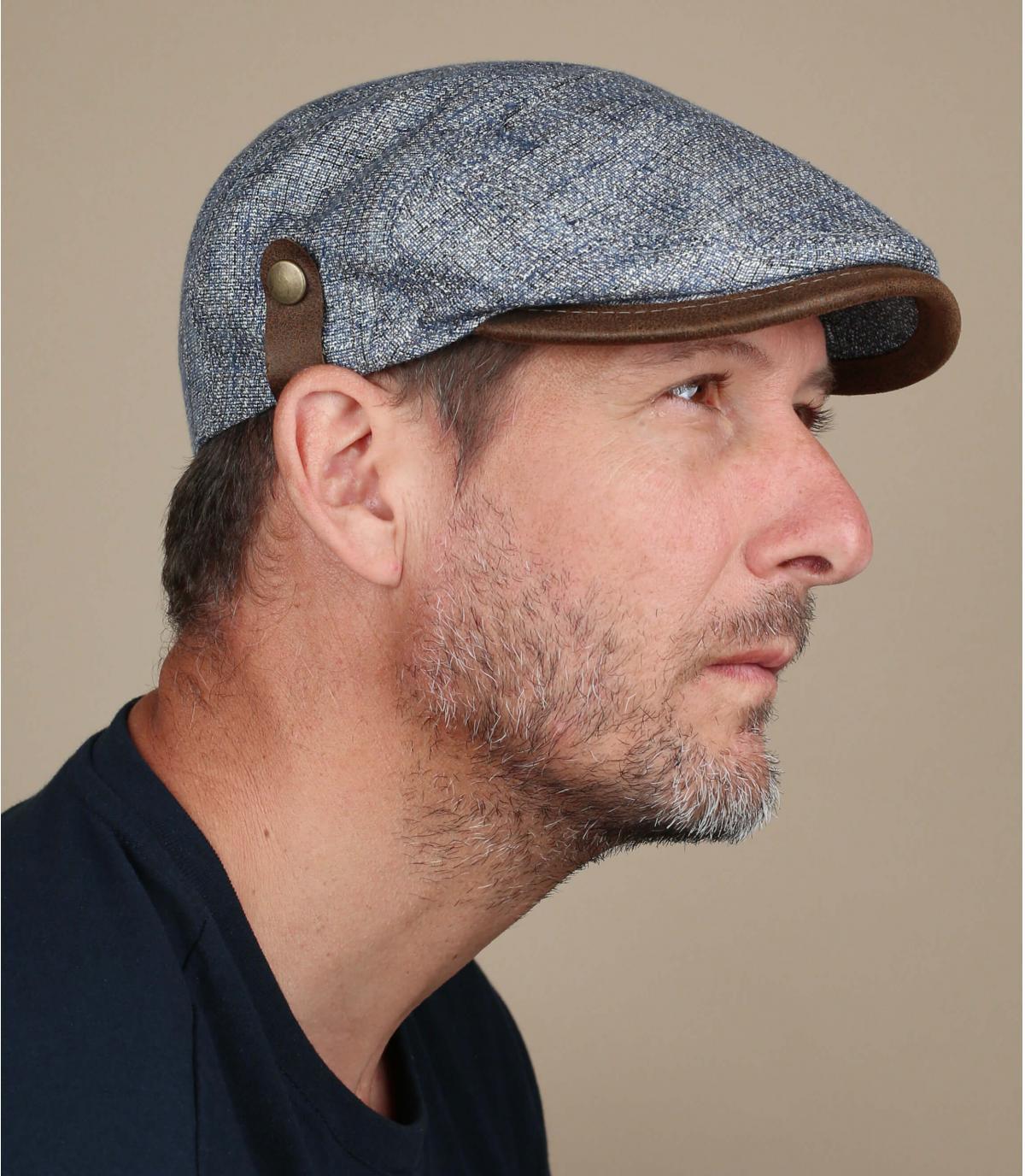 blue linen silk cap