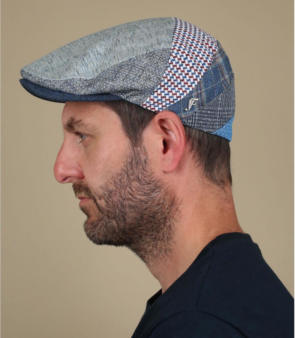 patchwork beret silk linen