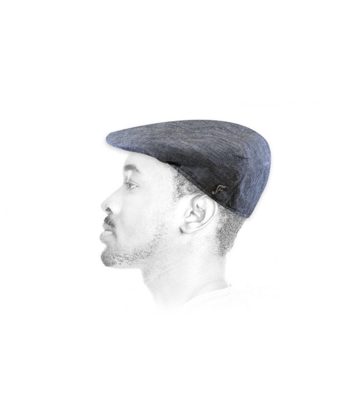 grey flat cap organic linen