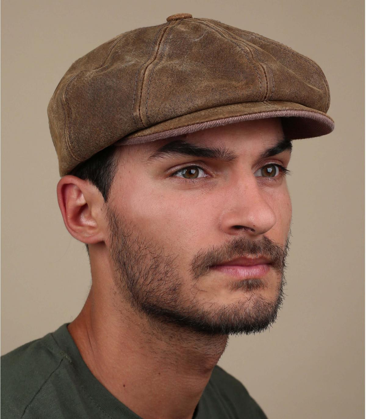 Leather newboys cap