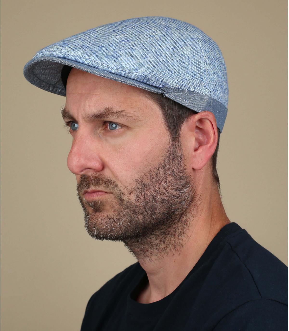 blue flat cap linen cotton