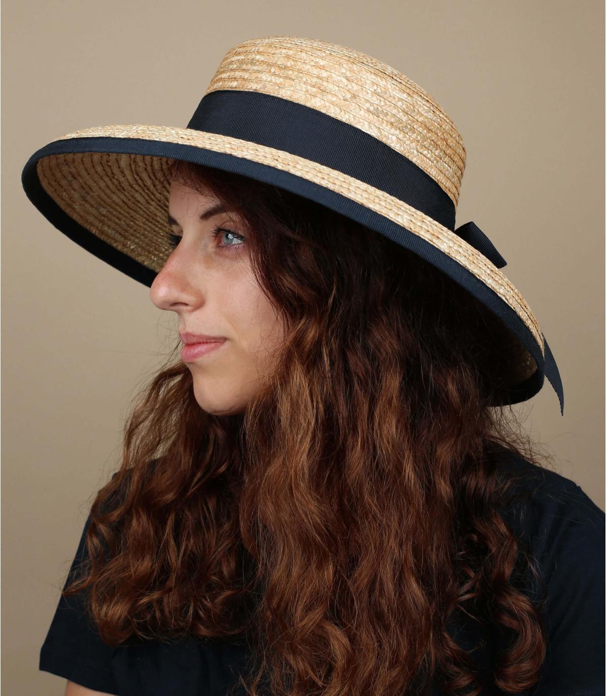 straw wide brim hat lace bow