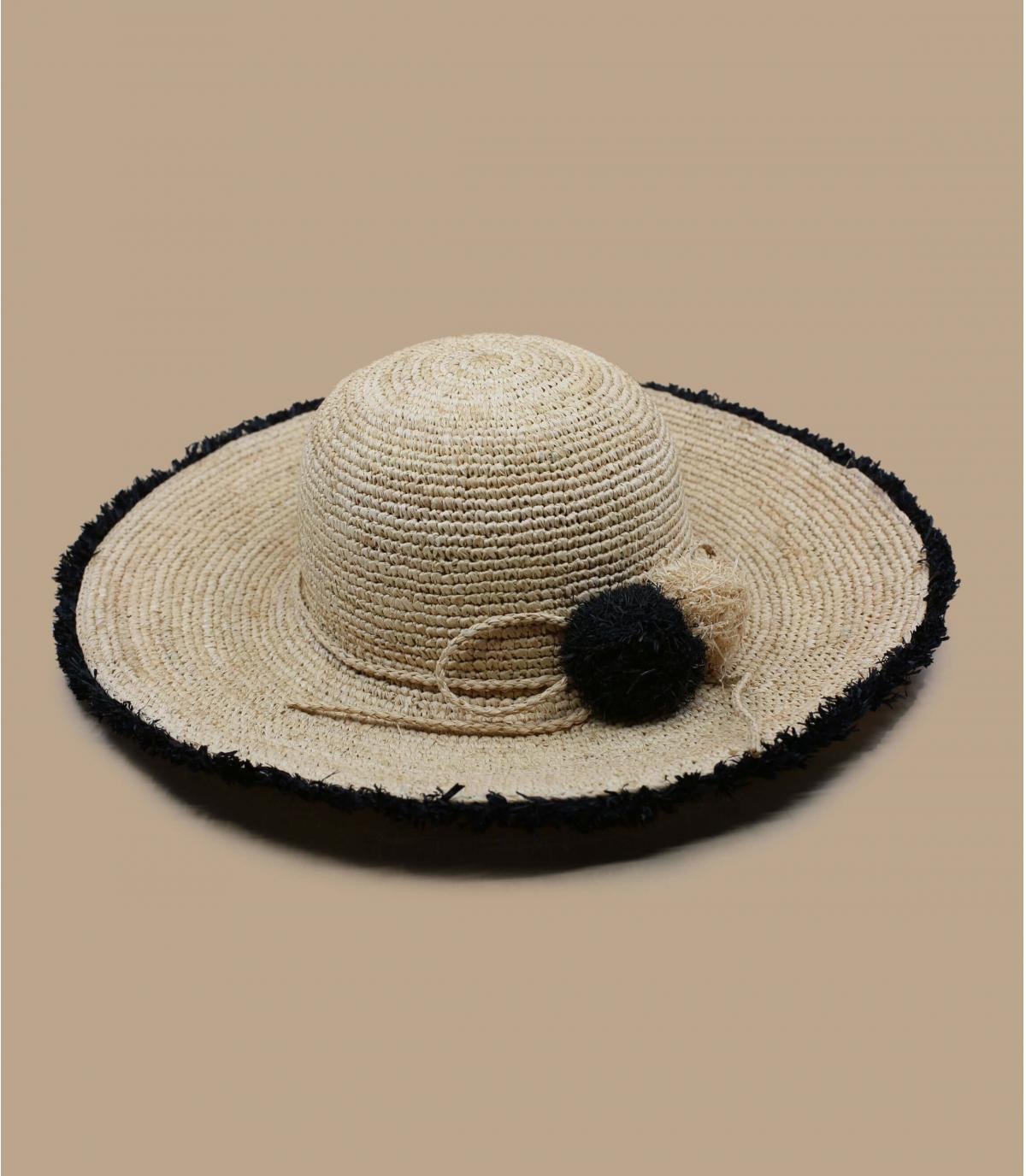 straw floppy hat black fringes