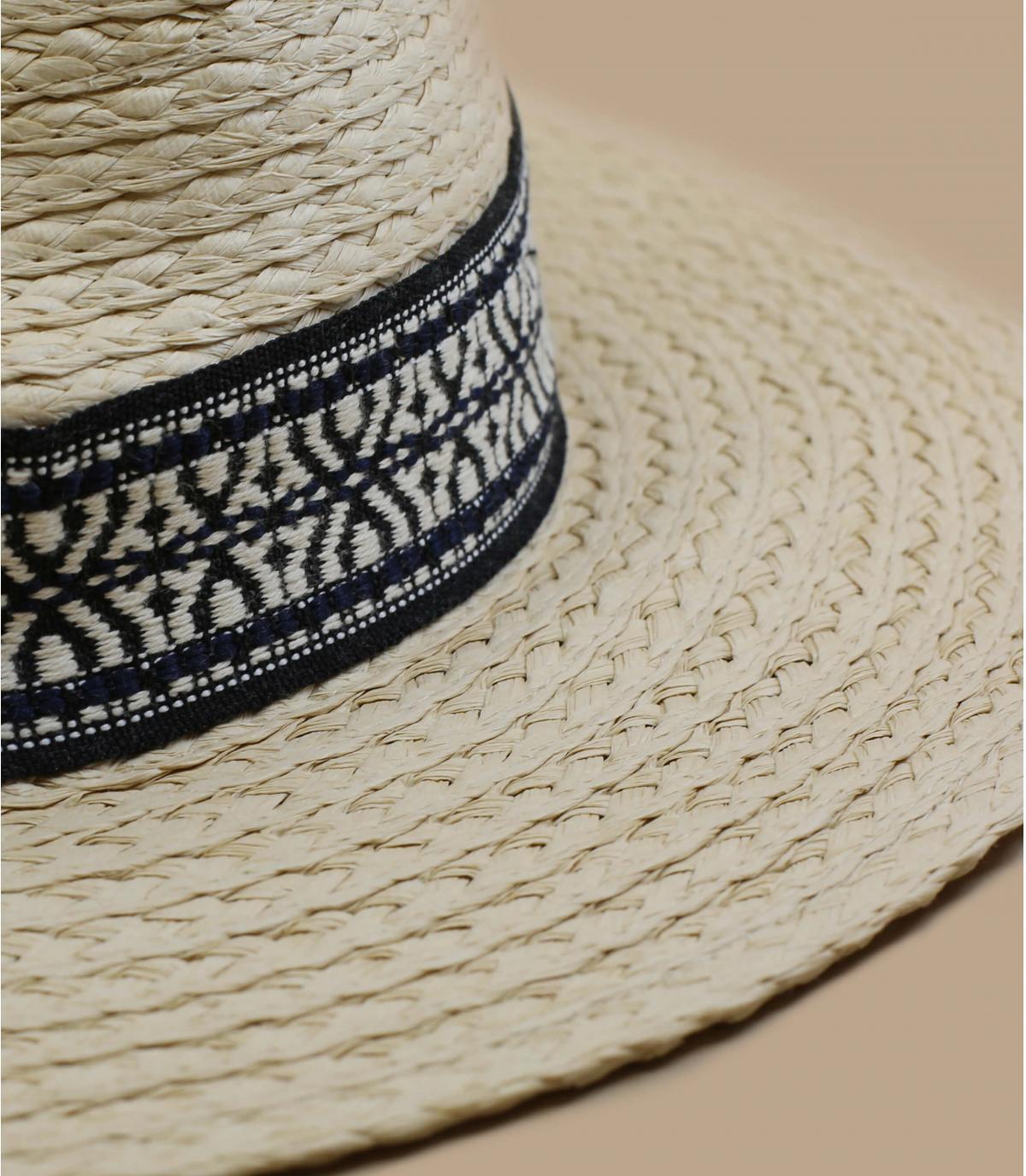 straw hat geometric ribbon