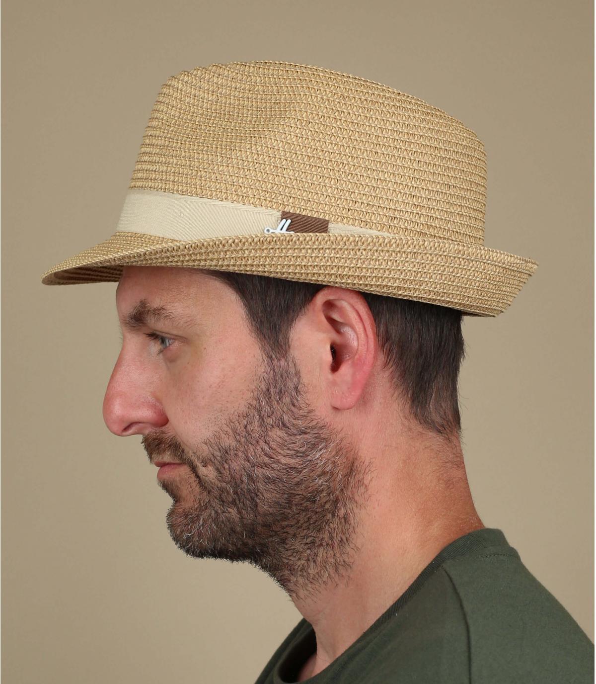 beige straw trilby