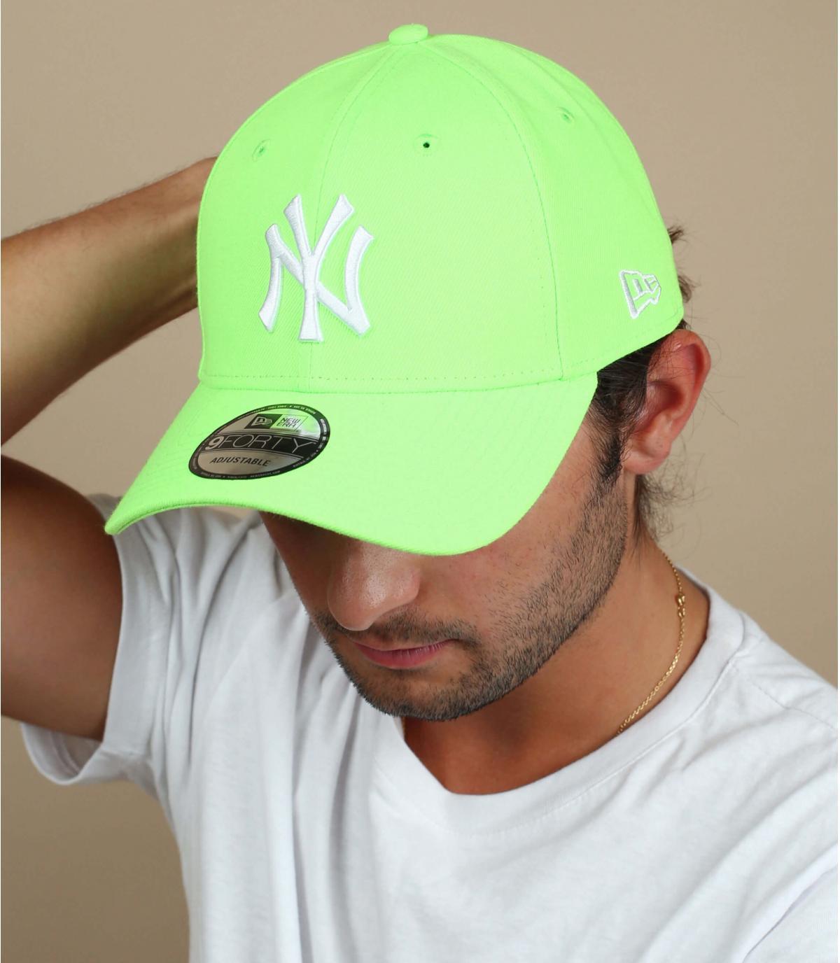 Neon green NY cap