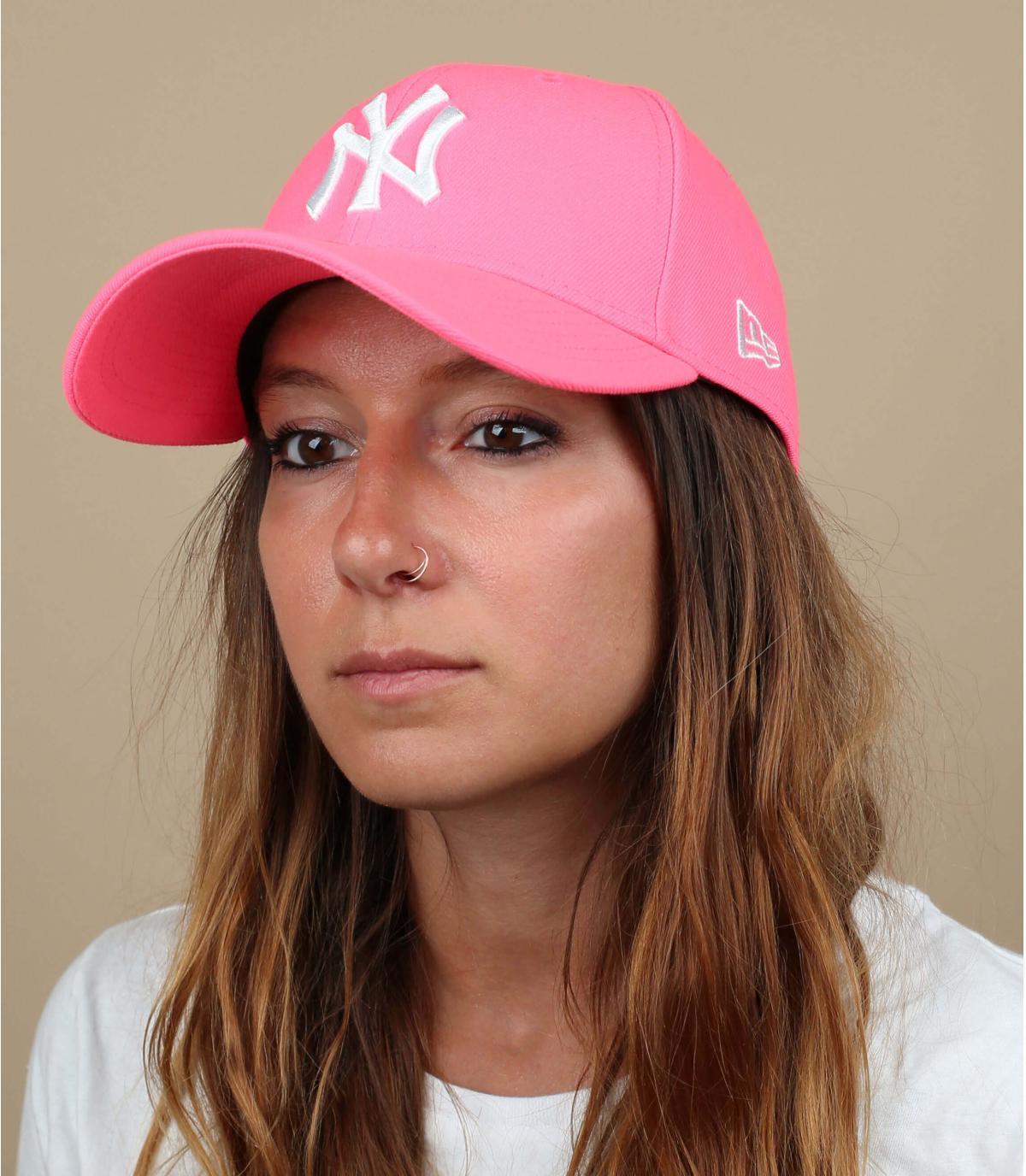 Neon pink NY cap
