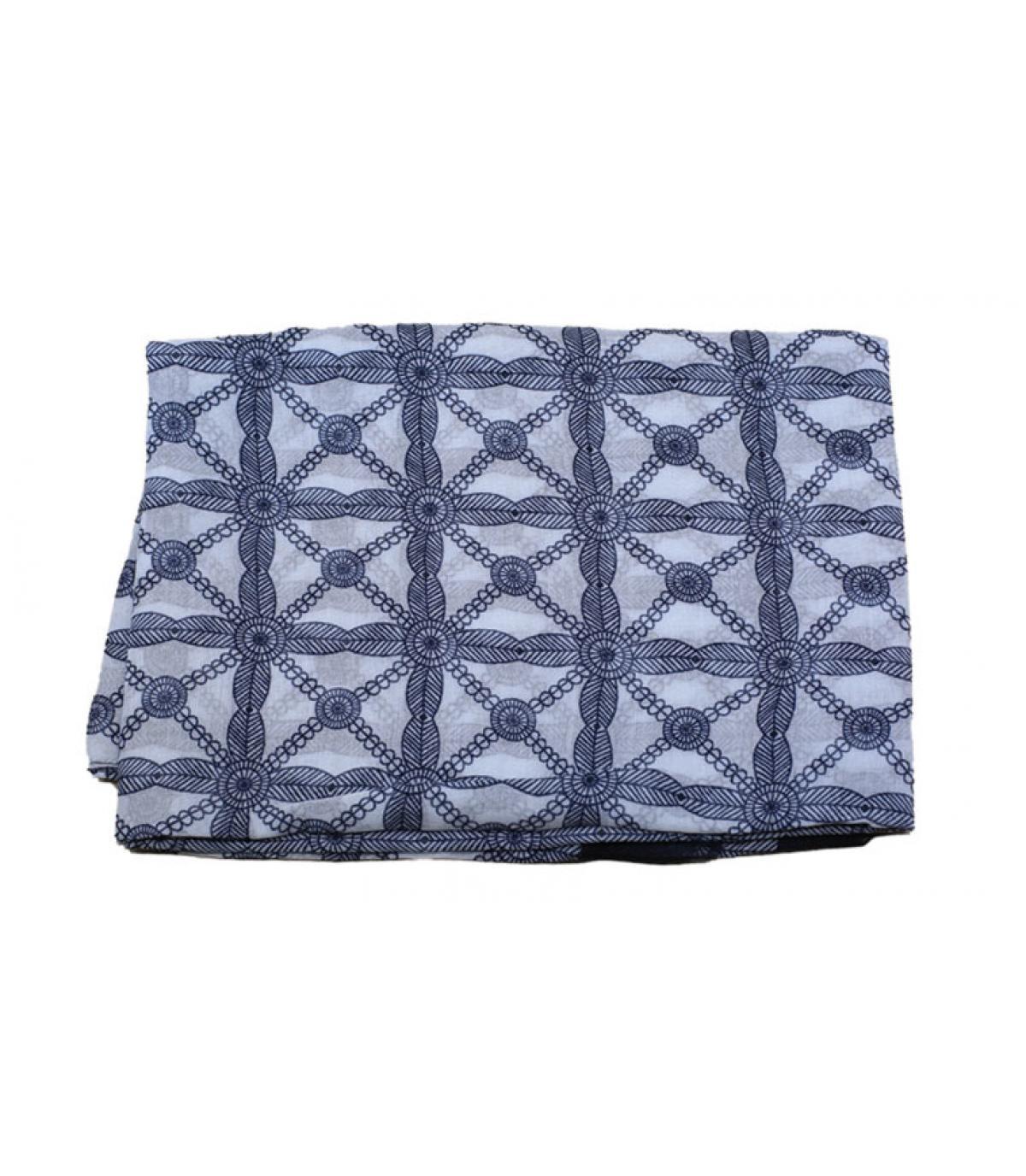 Blue white scarf geometric