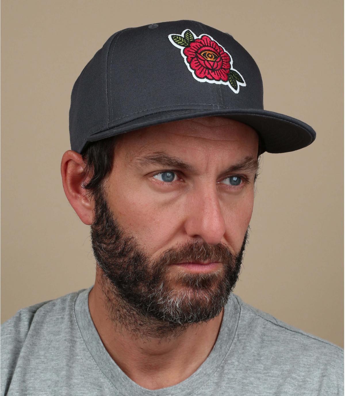 Black cap rose embroidery