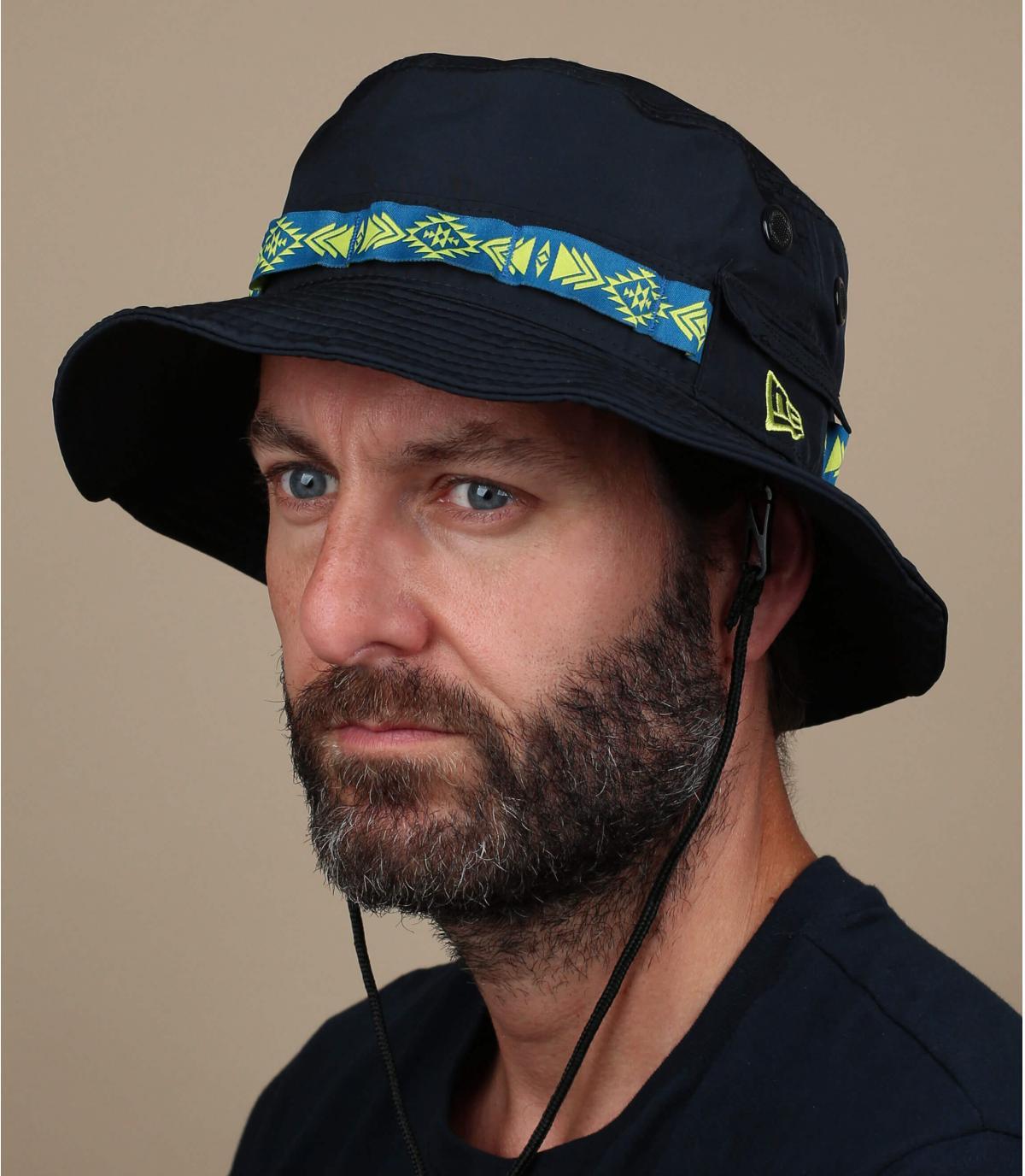 blue New Era bucket hat