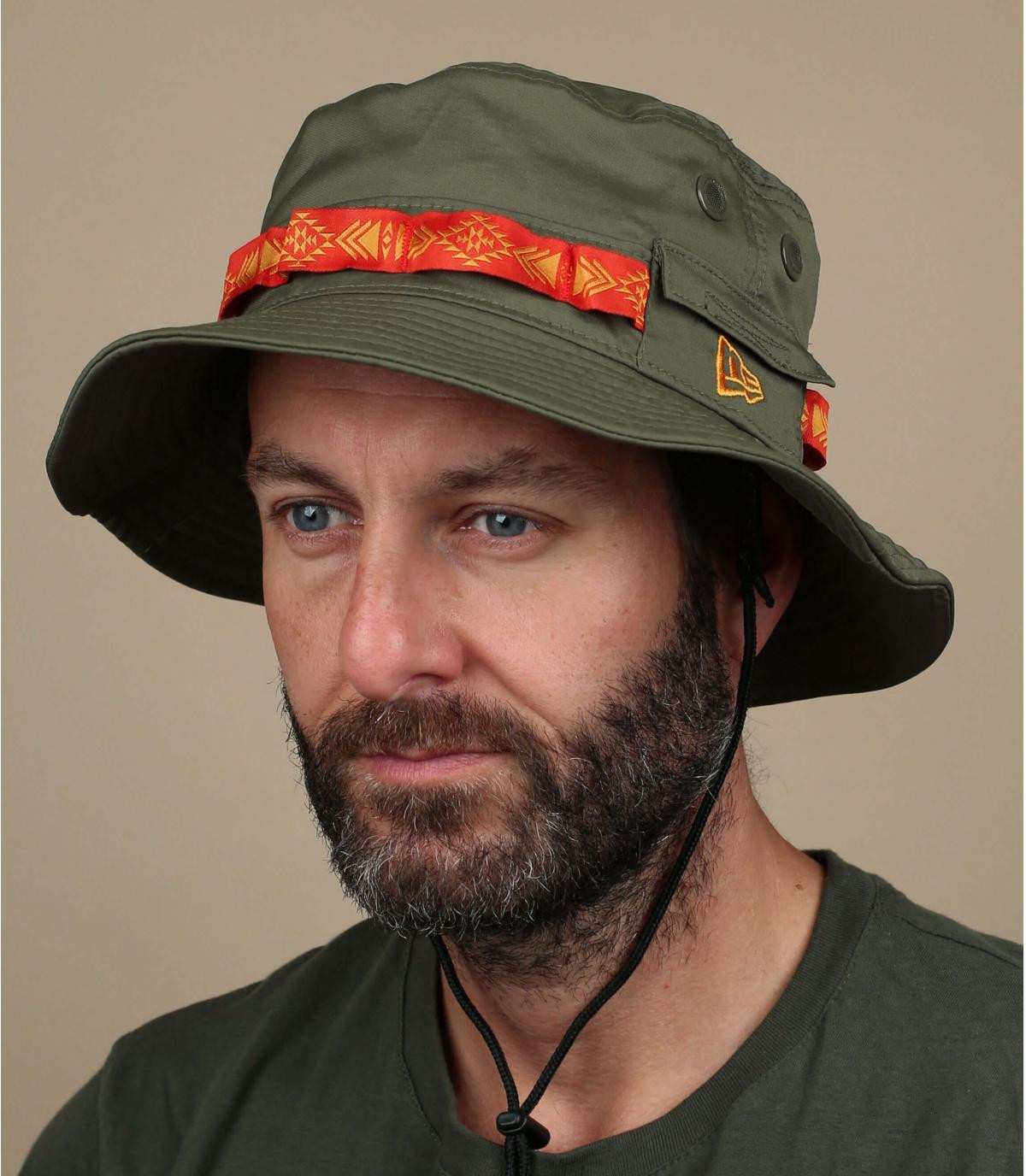 green New Era bucket hat