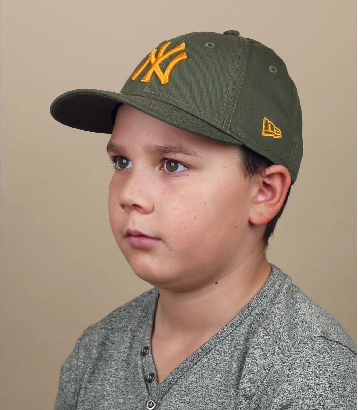 green yellow NY children cap
