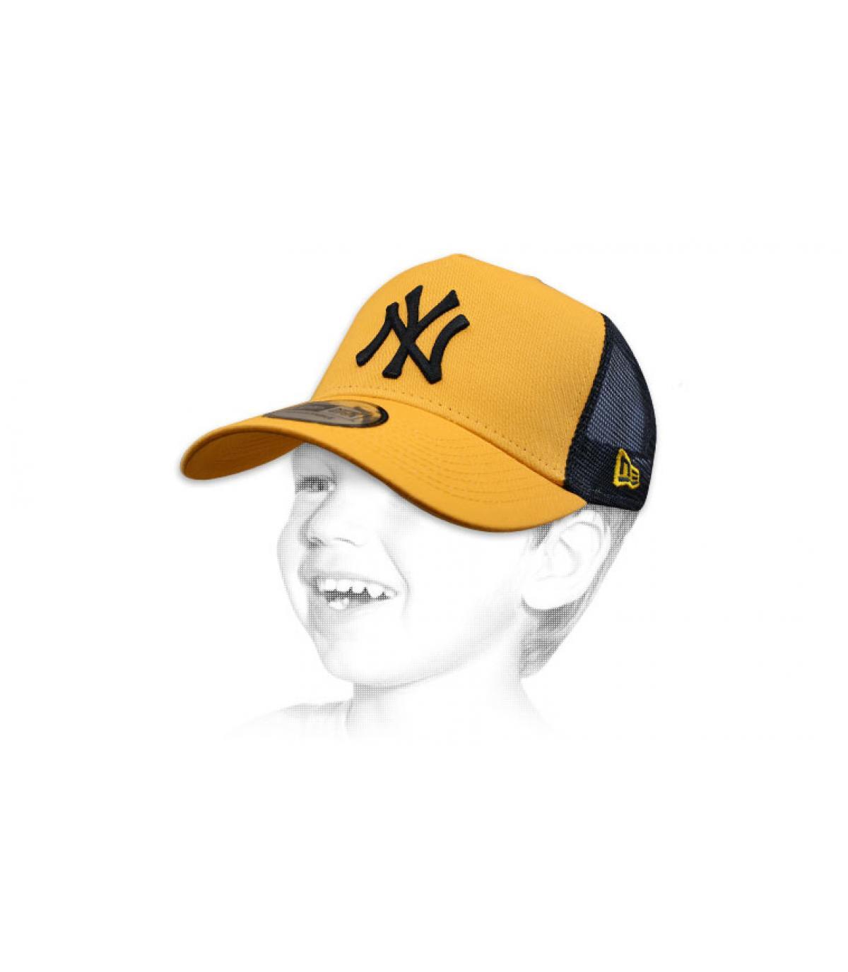 blue NY trucker cap child