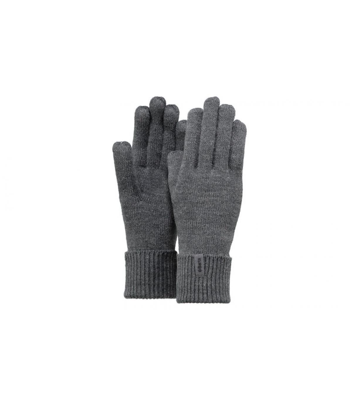 Détails Fine knitted gloves dark heather - image 3